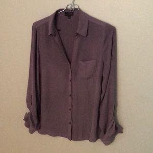 Button down purple work blouse